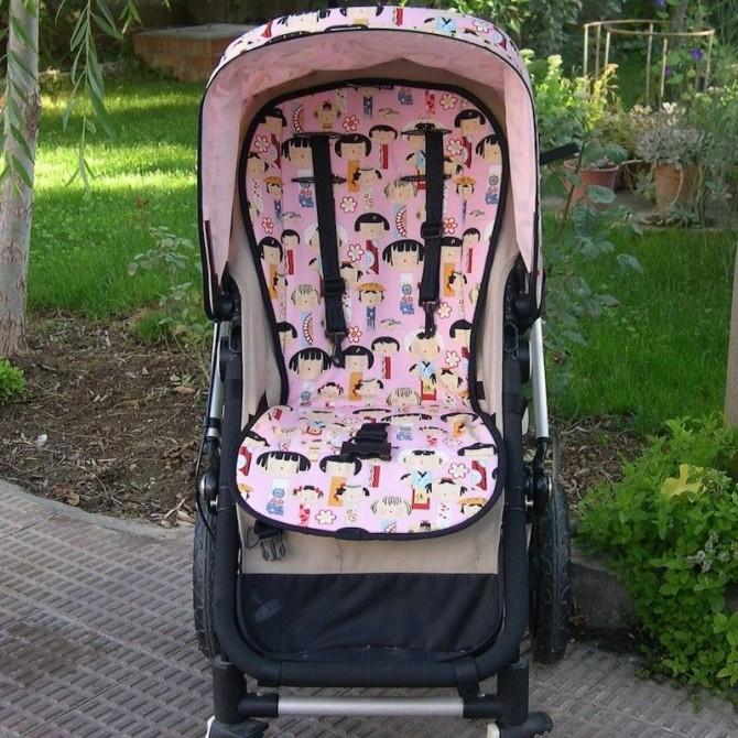 Pink japaneses dolls stroller cushion.