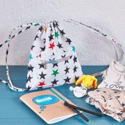 Mochila guardería estrellas blancas de Mybags cuaderno