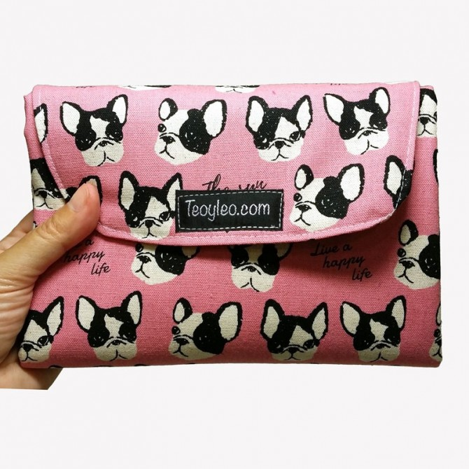 Baby changing mat - pink dogs