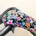 Manoplas carrito bebé - calaveras y flores